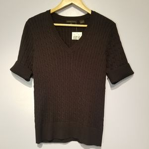 Jeanne Pierre Half Sleeve V-Neck Sweater